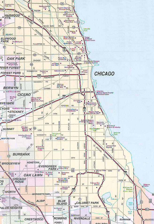 Mapa Chicago i Okolicy - Polonia w Chicago